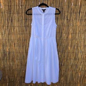 J.Crew Midi Button Down Eyelet Sleeveless Dress